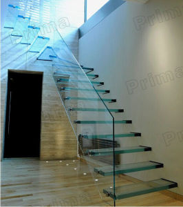 Laminated Glass Floating Staircase / Frameless Tempered Glass Railing Straight Stairs pictures & photos