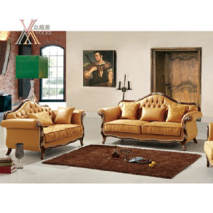 Yellow Leather Sofa Set with Carved Pattern (NCS43) pictures & photos