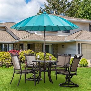 8.5′ Round Parasol Patio Umbrella (with Push Button Tilt and Crank, 24 Steel Wire Ribs, UV Resistant Fabric, Turquoise) pictures & photos