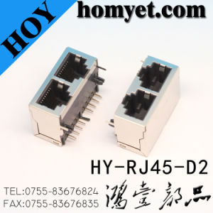 Notwork Sockets Level Double RJ45 Socket for Computer (HY-RJ45-D2) pictures & photos