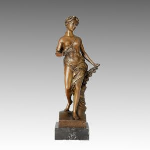 Nude Bronze Sculpture Flower Lady Carving Brass Statue TPE-046