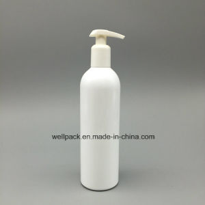 350ml White Plastic Cosmetic Bottle with Pump for Shampoo pictures & photos