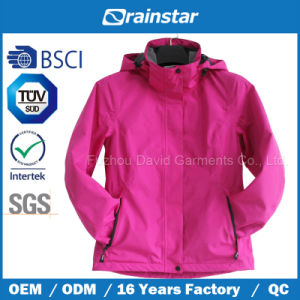 Women′s Winter Outdoor Waterproof & Breathable Jacket with Flowers After Wet