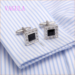 VAGULA High-Grade CZ Rhinestone Square Shirt Cuff Links pictures & photos