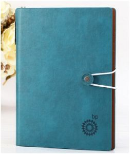 Funncy Blue Leather Cover Notebook. Delicate Series Notebook