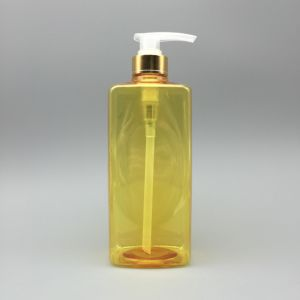 800ml Square Bottle Yellow Color with Lotion Pump pictures & photos