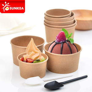 Kraft Paper Ice Cream Cup with Dome Plastic Lid pictures & photos