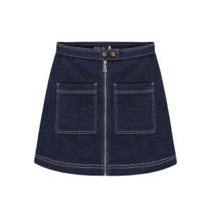 2015 New Denim A Line Skirt with Zipper for Girls