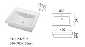 Ceramic Semi Recessed Big Size Countertop Basin/Sink with Cupc/Ce (A-SN123-712) pictures & photos