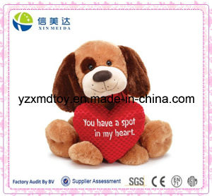 Plush Sitting Dog with Love Heart pictures & photos