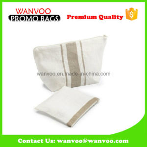 White Canvas Stripe Cosmetic Bag Cotton for Makeup Set pictures & photos
