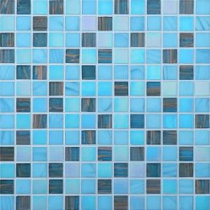20*20mm Swimming Pool Glass Mosaic Gold Line Mosaic pictures & photos