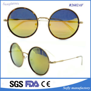 Retro Fashion Metal Frame Flash Good Mirror Lenses Cool Round Sunglasses pictures & photos