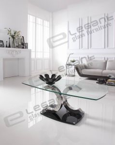 Glass Coffee Table with Two C Shape Legs pictures & photos