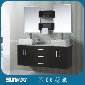 New America Style Solid Wooden Bathroom Furniture with Double Sink pictures & photos