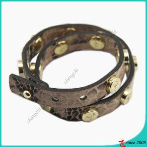 Stud Fashion Girl Brown Leather Bracelet (LB) pictures & photos