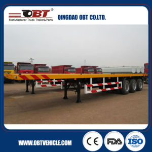Obt Brand 3 Axle Truck Container Flatbed Semi-Trailer pictures & photos