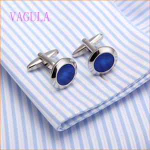 VAGULA Fashion Rhodium Plated Copper Blue Painting Cuff Link pictures & photos