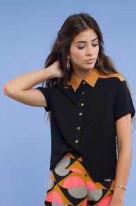 Women Collar Constract Clor Short Sleeve Shirts pictures & photos