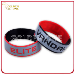 Custom Segmented Coloring with Logo Printed Silicone Wristband pictures & photos