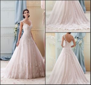 Light Pink Tulle Bridal Ball Gowns Lace Sweetheart Beads Wedding Dresses Da215277 pictures & photos