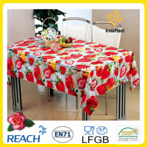 Fashion PVC Printed Transparent Crystal Table Cloth for Home Textile pictures & photos