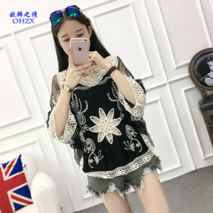 2017 New Jacquard Hollow Lace Computer Embroidered Bat Sleeves Beach Lace Blouse pictures & photos