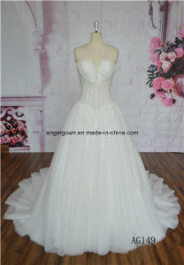 Sleeveless Dresses Real Photos Tulle Lace See Through Wedding Gowns pictures & photos