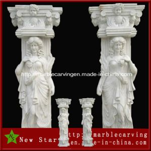 White Marble Hand Carved Column Outdoor Decorative Stone Pillar with Lady Statue pictures & photos
