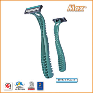 Plastic Platinum Coated Triple Stainless Steel Blade Disposable Razor (LA-8417) pictures & photos