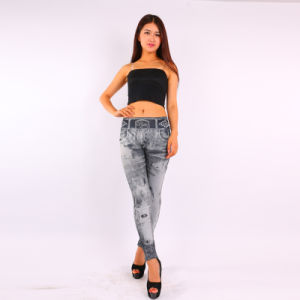 Black Jean Print Seamless Women Leggings pictures & photos