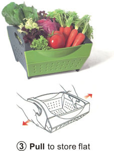 Folding Fruit & Vegetable Drainer Basket Strainer Snapfold Colander pictures & photos