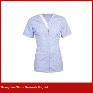 Custom Medical Beautiful Women V-Neck Hospital Nurses Uniform (H15) pictures & photos