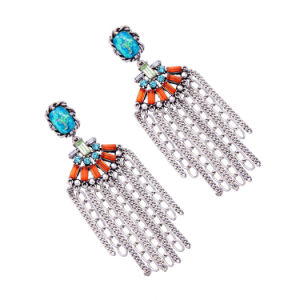 Bohemian Ethnic Elegant Personal Crystal Studded Alloy Chain Tassel Earrings pictures & photos