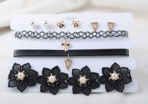 Three Rows of Black PU and Fabric Choker Earring Set