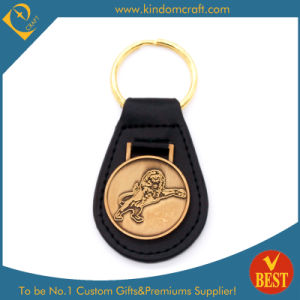 Wholesale Custom Gold Plating Lion Badge Metal Leather Key Ring for Promotional Gifts pictures & photos