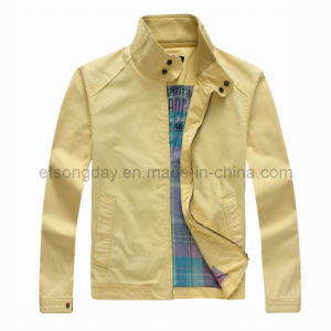 Yellow 100% Cotton Men′s Casual Jacket with Highneck (GT01293) pictures & photos