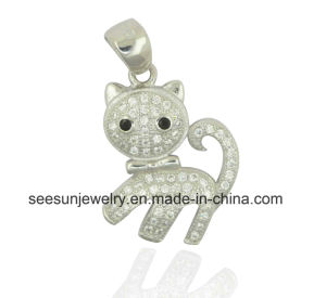925 Sterling Silver Cute Animal Cat Pendant pictures & photos