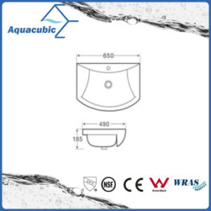 Semi-Recessed Bathroom Ceramic Cabinet Basin Hand Washing Sink (ACB8160) pictures & photos