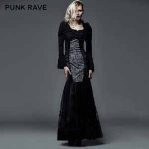 Wholesale Fashion Lady Gothic Sexy Fishtail Evening Dress Pattern (Q-256) pictures & photos