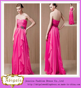 2014 New Designer Beautiful Elegant Sheath Peach Sweetheart Zipper Back Floor Length Chiffon Formal Bridesmaid Dresses (MN1303) pictures & photos