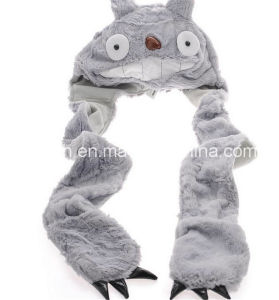 Totoro Scarf Hat Gloves Integrated Plush