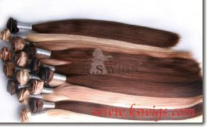 Hand Tie Hair Weft Remy Human Hair Extension pictures & photos