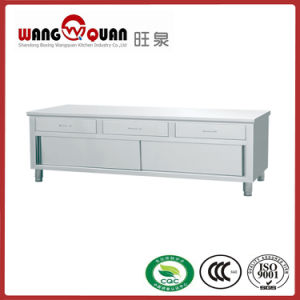 Chinese Suppliers Wholesale Swing Door Stainless Steel Work Table with 3 Drawer pictures & photos