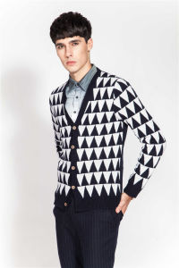 100%Merino Wool Winter Patterned Knitted Men Cardigan with Button pictures & photos