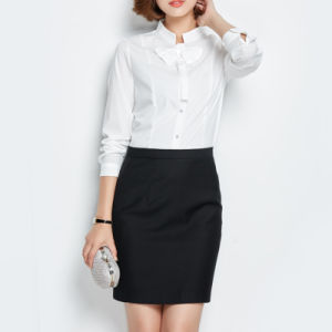 Fashion Office Middel Sleeve Plain Womens Cotton Formal Shirt pictures & photos