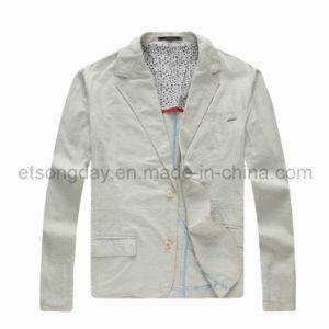 Gray Outdoor Linen Cotton Men′s Casual Blazer Jacket (7072) pictures & photos