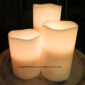 Indoor Outdoor Ivory LED Wax Candle with Battery Operated pictures & photos