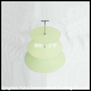 3 Tier Green Colroed Tempered Glass Display Plate pictures & photos
