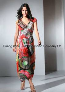 Women Knit Pleated Medallion Print Maxi Dress pictures & photos